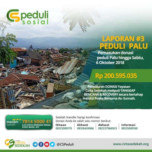 CS PEDULI - PALU (Laporan DONASI #3)
