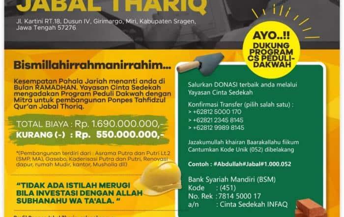 Pembangunan Ponpes Tahfidzul Qur'an Jabal Thoriq - Sragen Jawa Tengah
