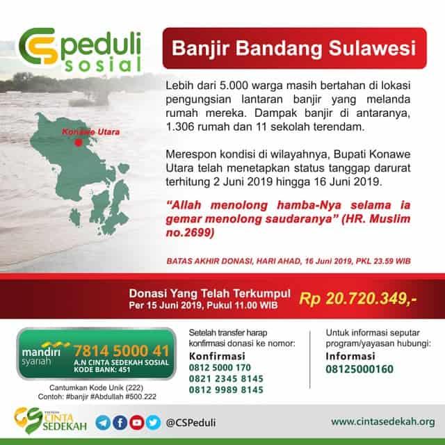 DONASI CS Peduli - Banjir Bandang Sulawesi 16 juni