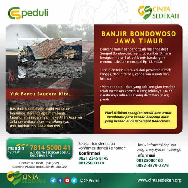 Peduli Bencana Banjir Bandang di Bondowoso Jawa Timur