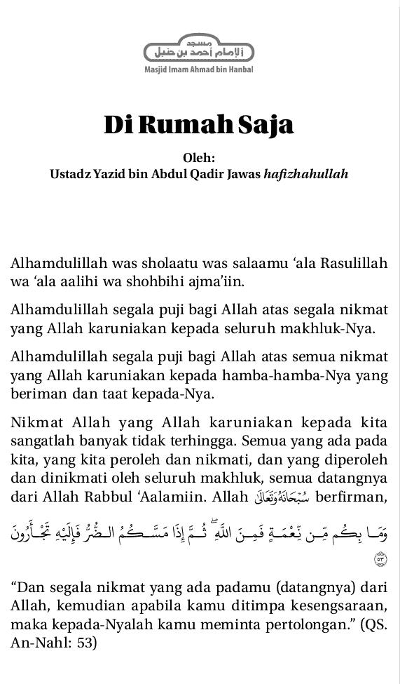DI RUMAH SAJA USTADZ YAZID BIN ABDUL QADIR JAWAS HAFIZHAHULLAH