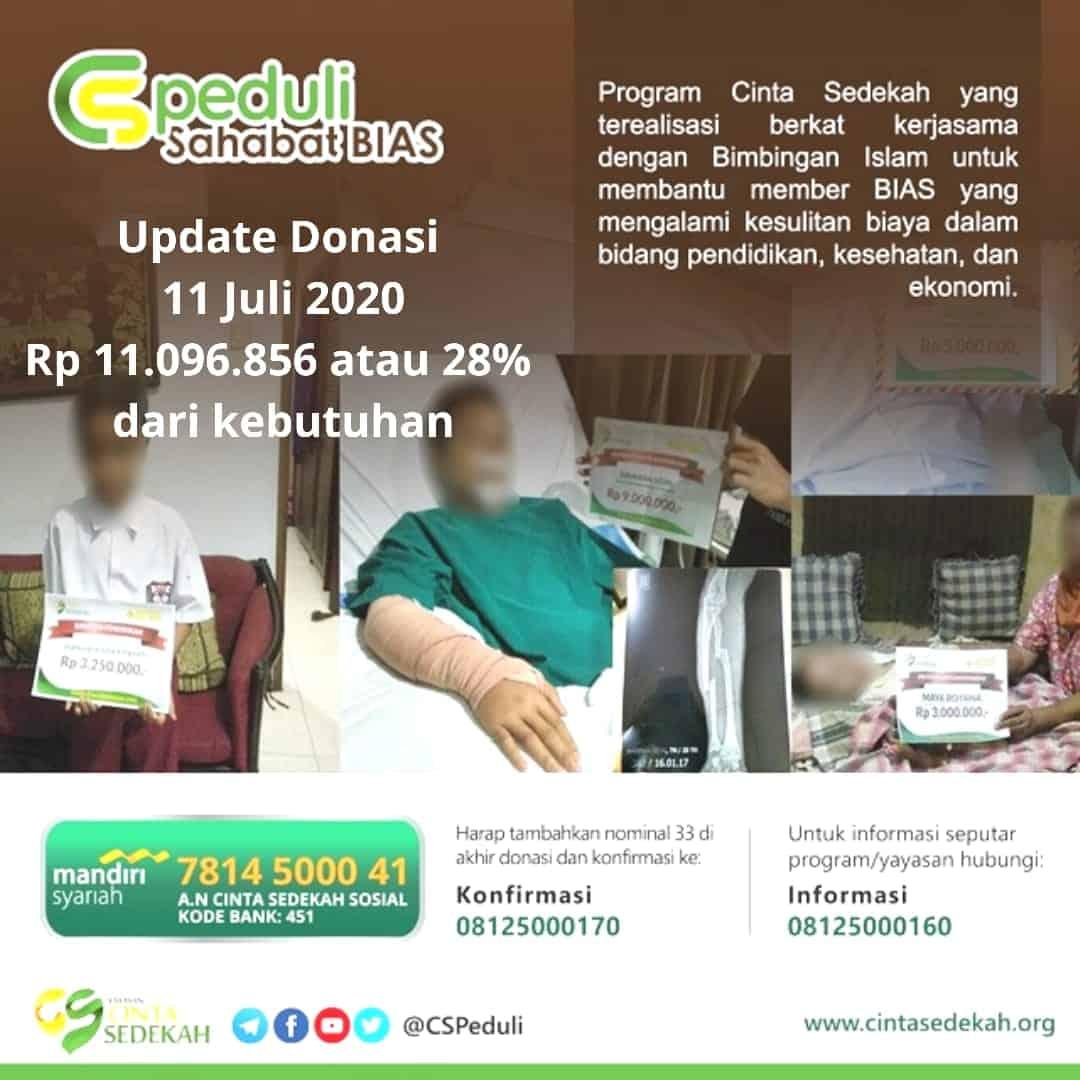 Update Donasi 11 Juli CSPeduli Sahabat BiAS - Bantuan Biaya Operasi Bapak Mulyadi