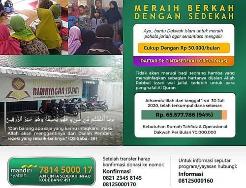 Update Donasi Infaq 30 Juli 2020