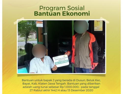 Bantuan Ekonomi kepada Bapak J di Bayat, Klaten, Jawa Tengah