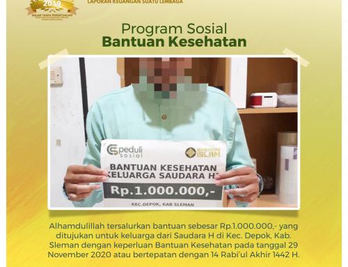 Bantuan Kesehatan kepada Saudara H di Depok, Sleman, Yogyakarta