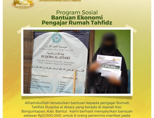 Bantuan Ekonomi Pengajar Rumah Tahfidz Ruqoba al Atsary di Banguntapan, Bantul