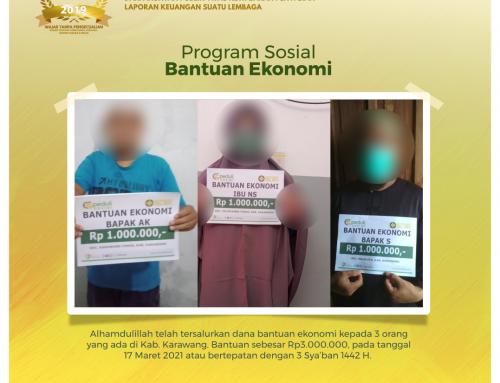 Bantuan Ekonomi kepada ketiga Orang yang berdomisili di Karawang
