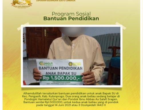 Bantuan Pendidikan Kepada Anak Dari Bapak SU di Pengasih, Kulonprogo