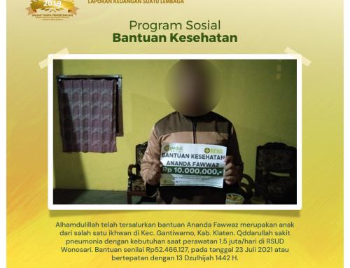 Bantuan Kesehatan Kepada Ananda Fawwaz di Gantiwarno, Klaten