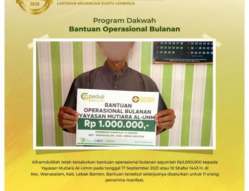 Bantuan Operasional Bulanan Yayasan Mutiara Al-Umm di Wanasalam, Lebak