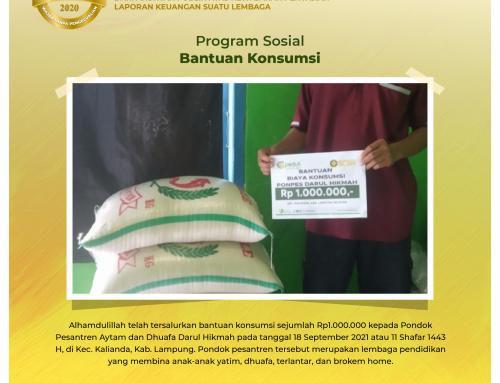 Bantuan Biaya Konsumsi Pondok Pesantren Darul Hikmah di Kalianda, Lampung Selatan